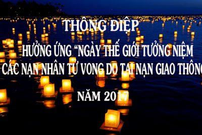 """Thông điệp hưởng ứng """"Ngày thế giới tưởng niệm các nạn nhân tử vong  do tai nạn giao thông"""" năm 2020"""